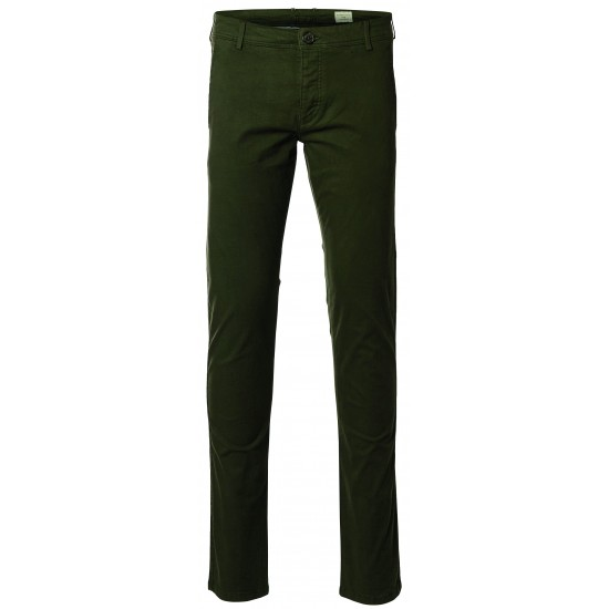Selected homme - Pantalon chino vert sapin skinny