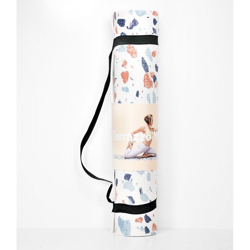 Doiy Tapis De Yoga Blanc Imprimes Taches De Couleurs