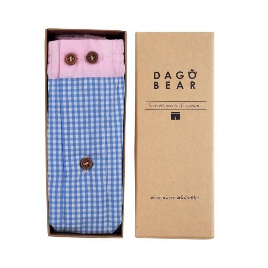 Dagobear - Caleçon homme rayés bleu et rose