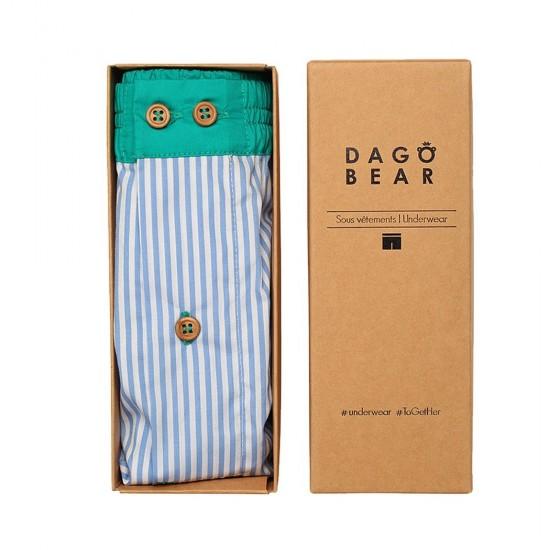 Dagobear - Caleçon homme rayés bleu et vert