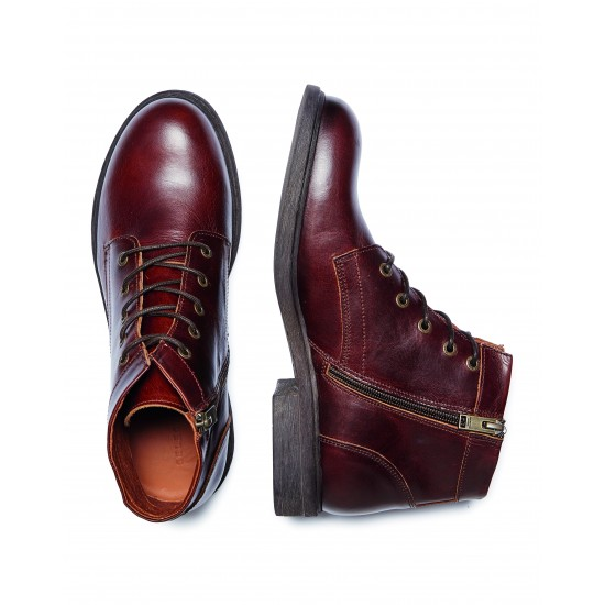 Selected - Boots montantes en cuir marron