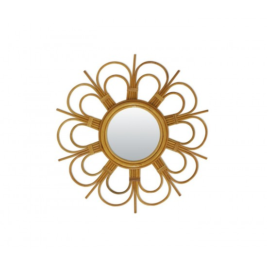 Bakker - Petit miroir en rotin fleur