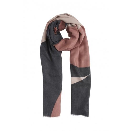 Ichi - Echarpe graphique rose et noire