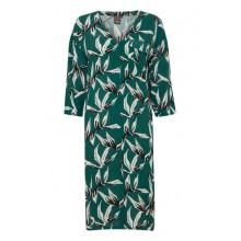 Ichi - Robe chemise verte à motifs