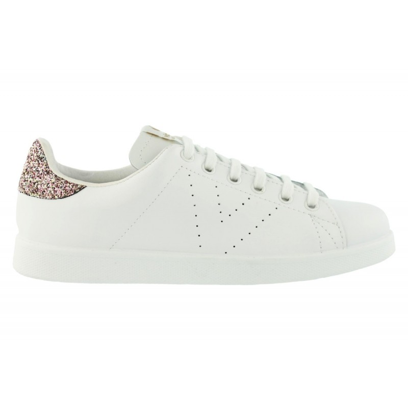 Victoria - Baskets blanches en cuir paillettes roses. Loading zoom f323cc938748
