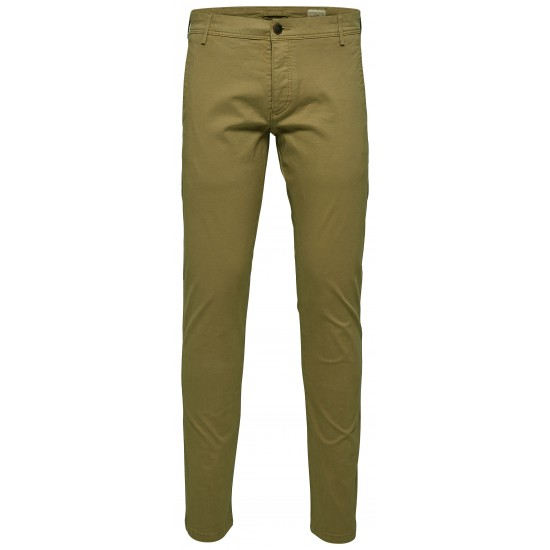 Selected homme - Pantalon chino vert olive skinny