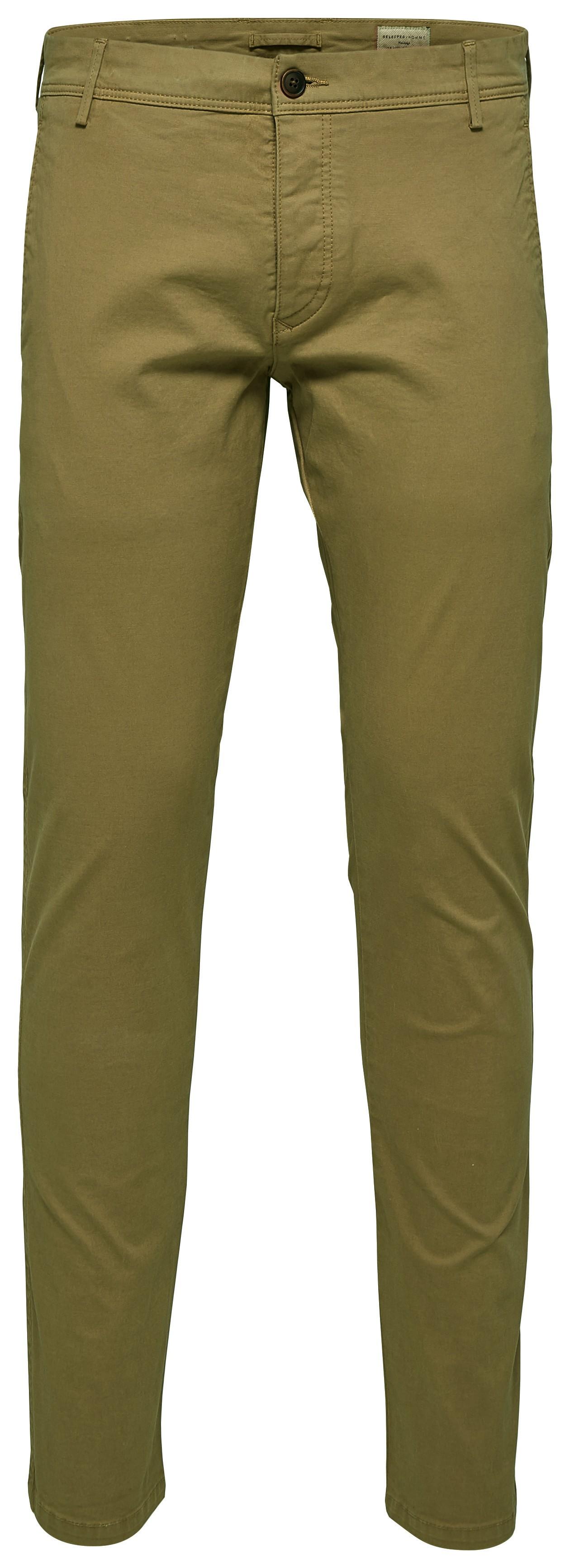 Selected homme | Pantalon chino vert olive coupe ajustée