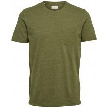 Selected homme - T-shirt kaki avec poche