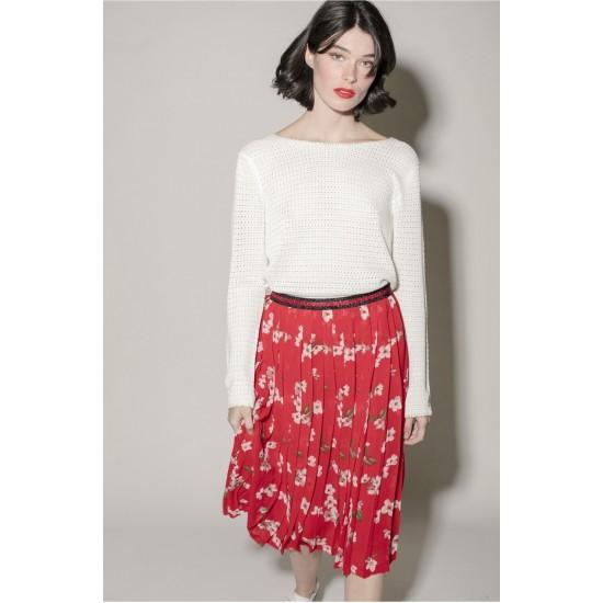 Grace et Mila - Jupe longue rouge motifs fleurs
