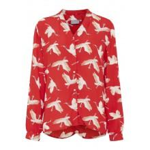 B.young - Blouse rouge motifs oiseaux