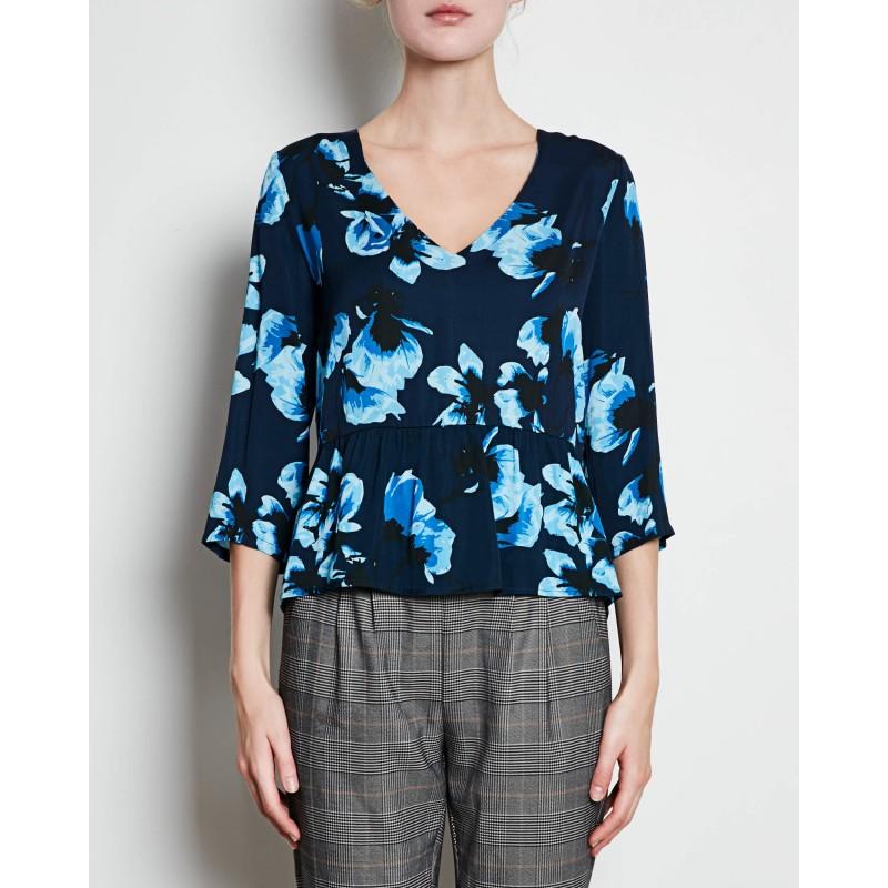 Minimum - Blouse bleue à motifs. Loading zoom 31c35f8a61ca