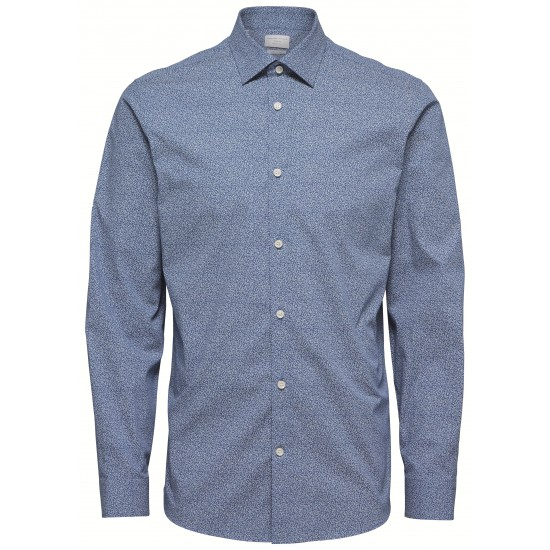 Selected homme - Chemise bleu à motifs