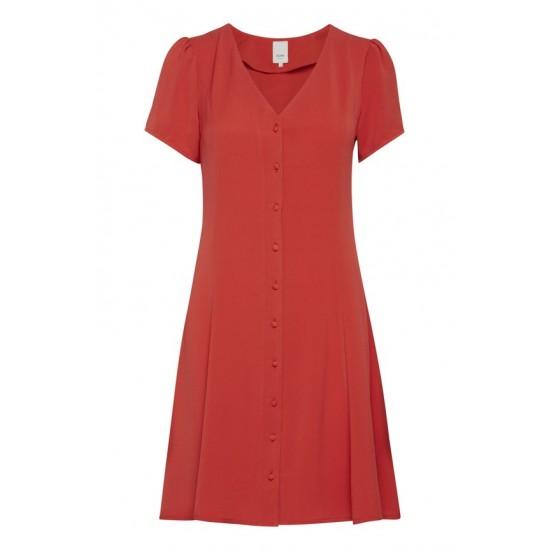 Ichi - Robe rouge manches courtes