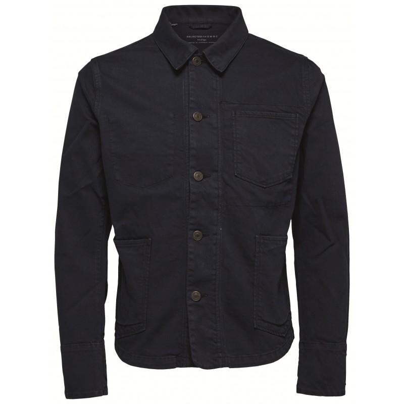 3c6204301e38 Selected - Veste en jean bleu marine