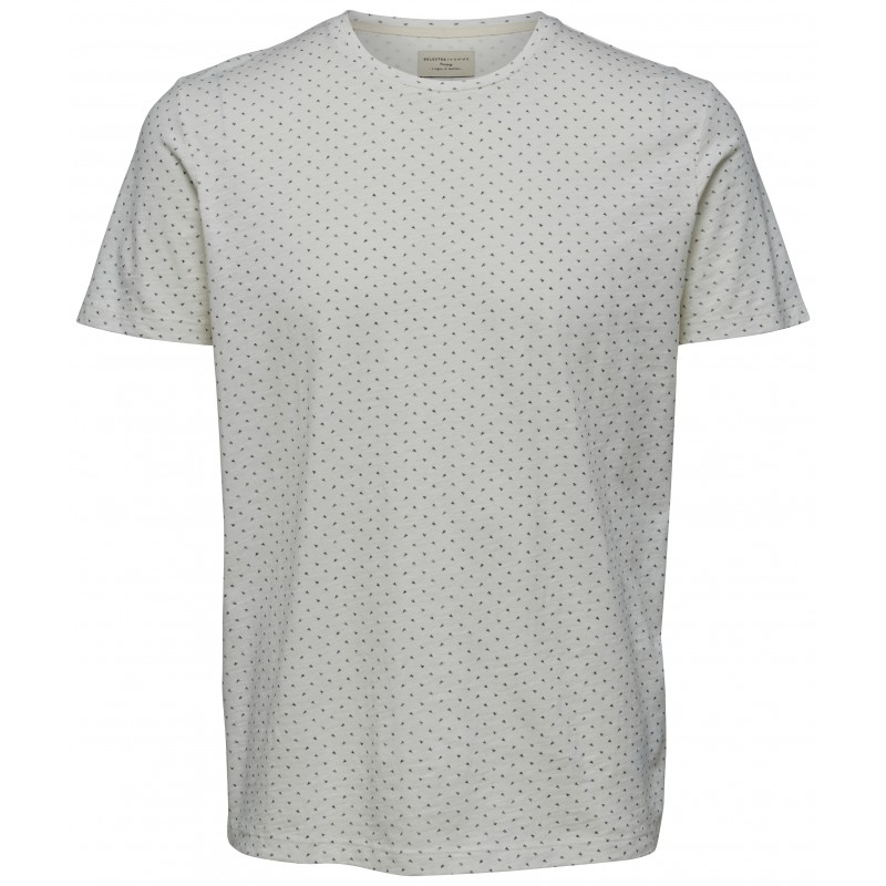 6b6afb608e7 Selected homme - T-shirt blanc à motifs