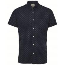 Selected homme - Chemise bleue à motifs manches courtes
