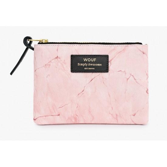 Woouf - Petite pochette imprimé marbre rose