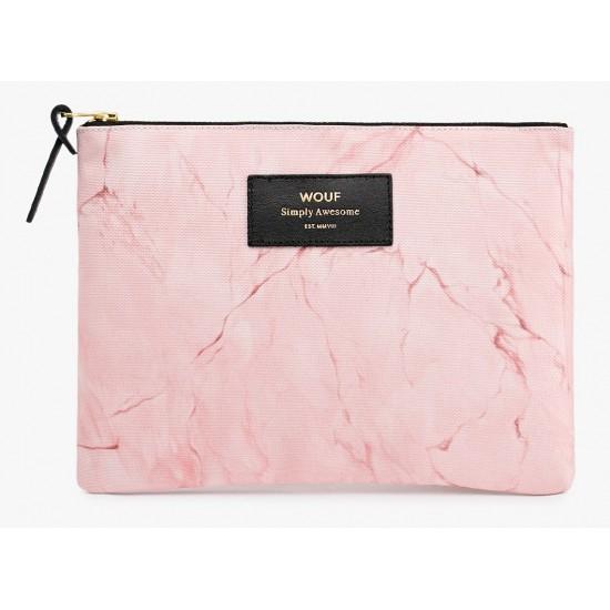 Woouf - Pochette large imprimé marbre rose