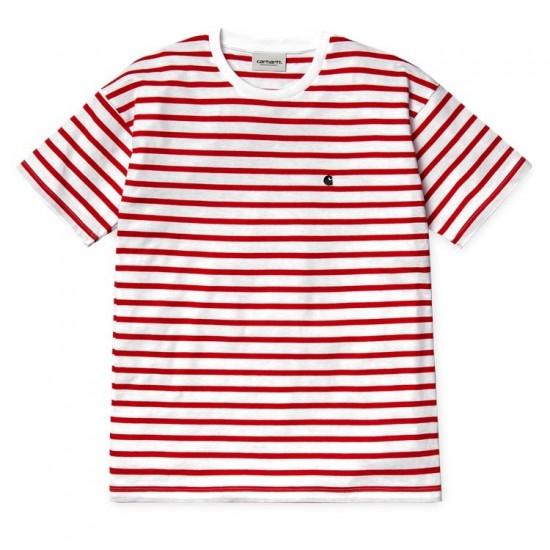 Carhartt WIP - T-shirt marinière rouge