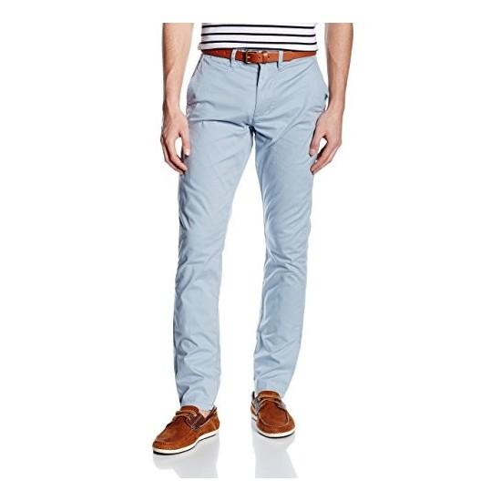 Selected homme - Pantalon chino bleu ciel avec ceinture