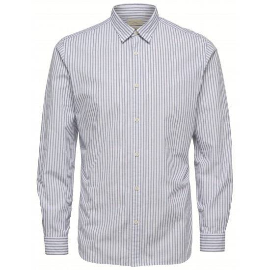 Selected homme - Chemise blanche à rayures slim fit