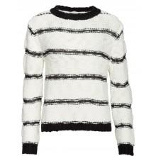 Nümph - Pull laine blanc rayures noires
