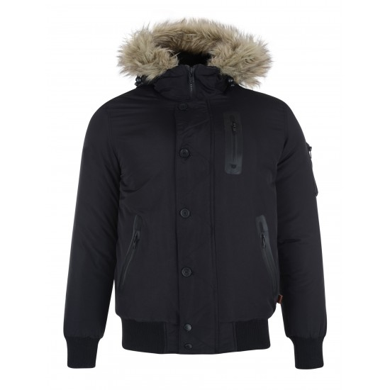 Bellfield - Manteau noir capuche fourrure