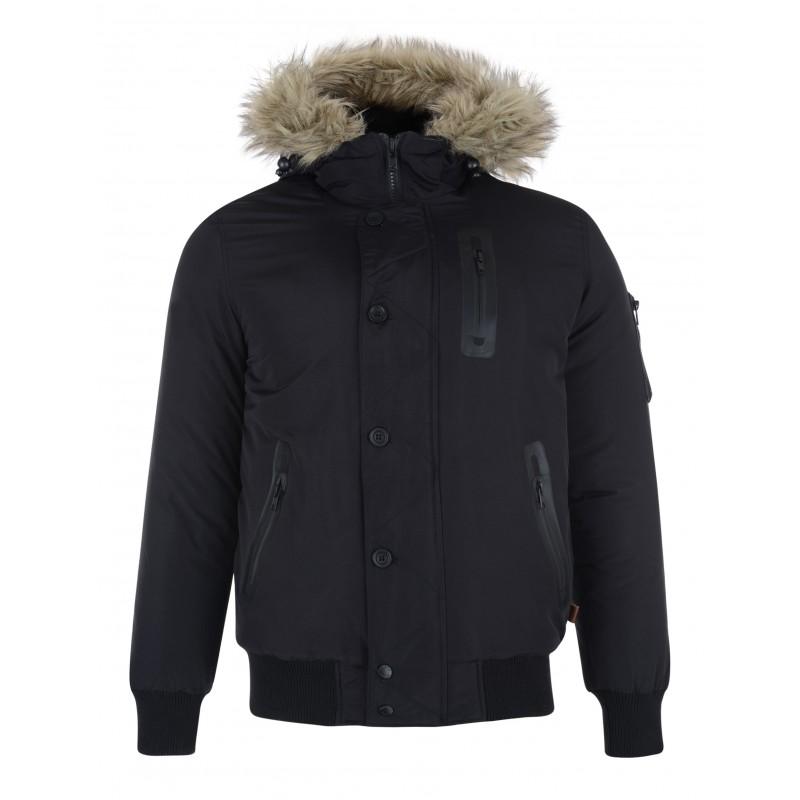 bellfield manteau noir avec capuche fausse fourrure. Black Bedroom Furniture Sets. Home Design Ideas