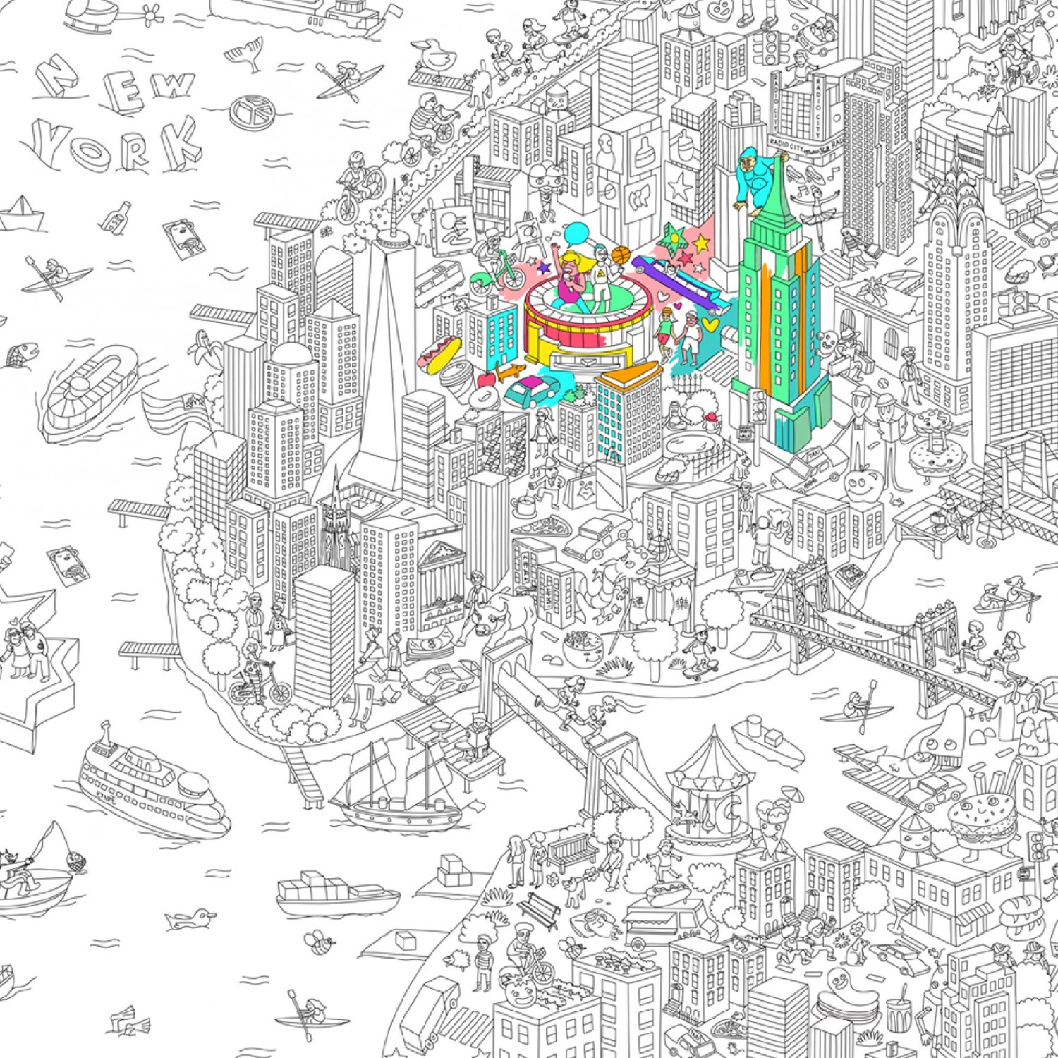 Omy grand poster de new york colorier - Coloriage omy ...