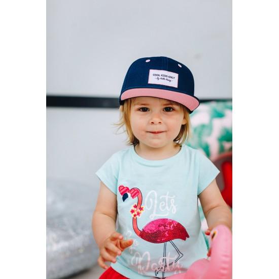 Hello Hossy - Casquette enfant marine et rose