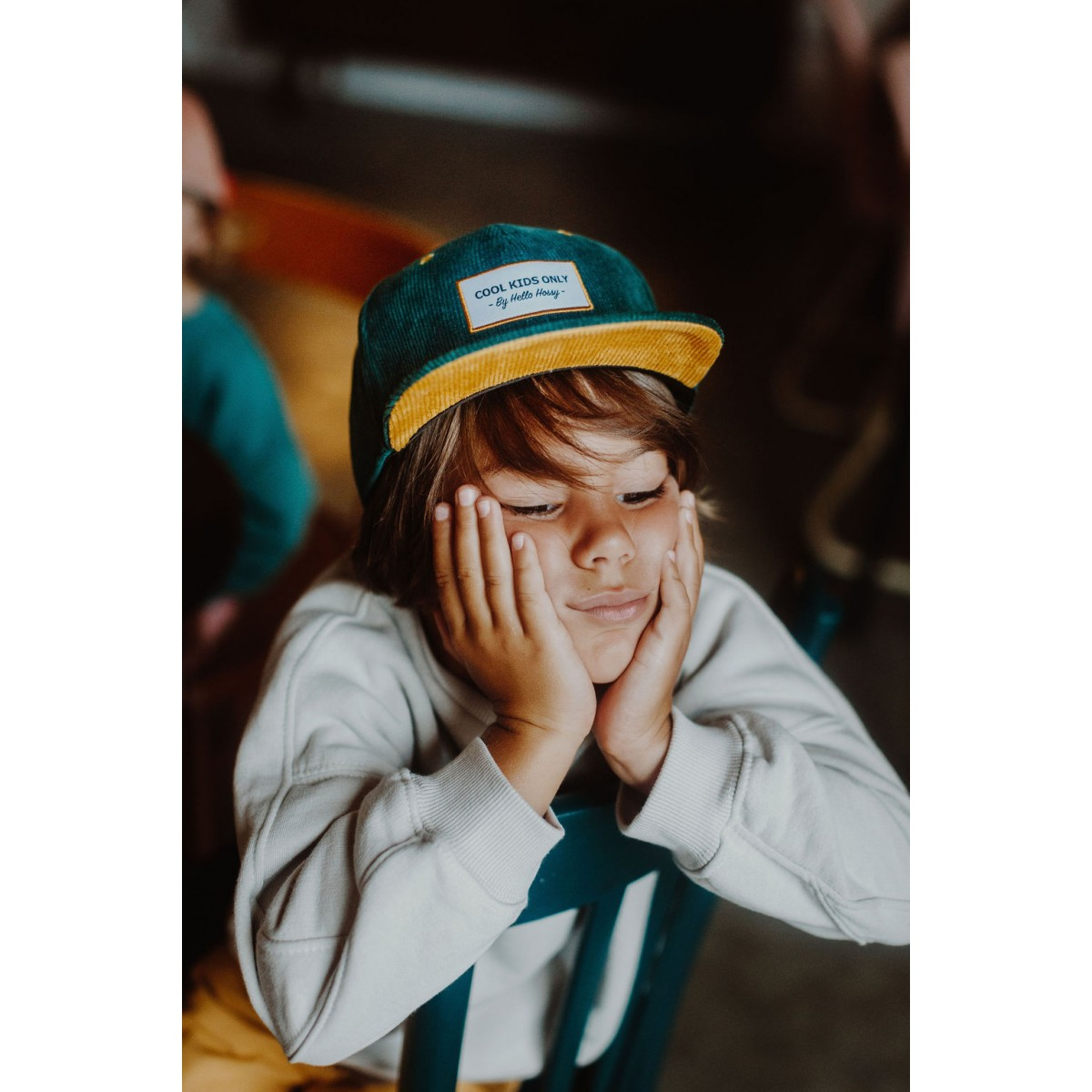 Hello Hossy - Casquette enfant en velours vert émeraude