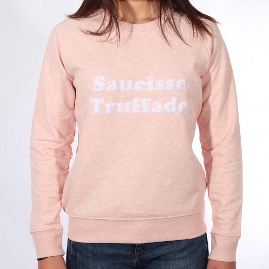 Saucisse Truffade - Sweat femme rose avec broderie