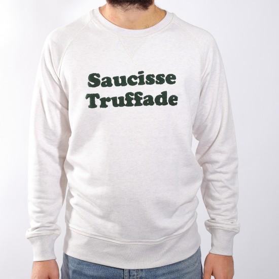 Saucisse Truffade - Sweat blanc chiné avec broderie verte