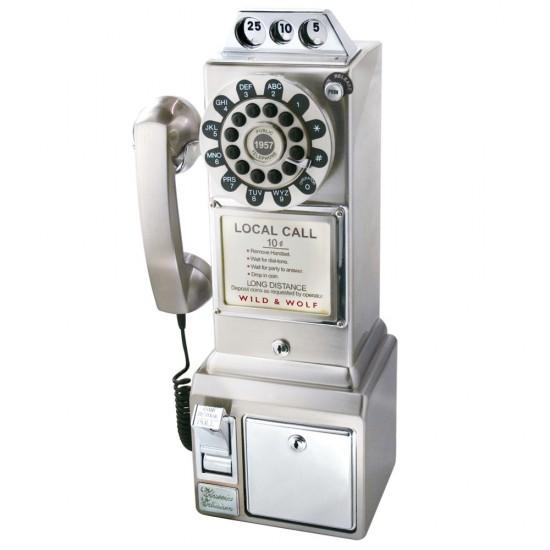 Wild & Wolf - Diner phone aspect chromé années 50