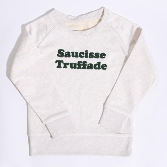 Saucisse Truffade - Sweat enfant blanc chiné avec broderie verte