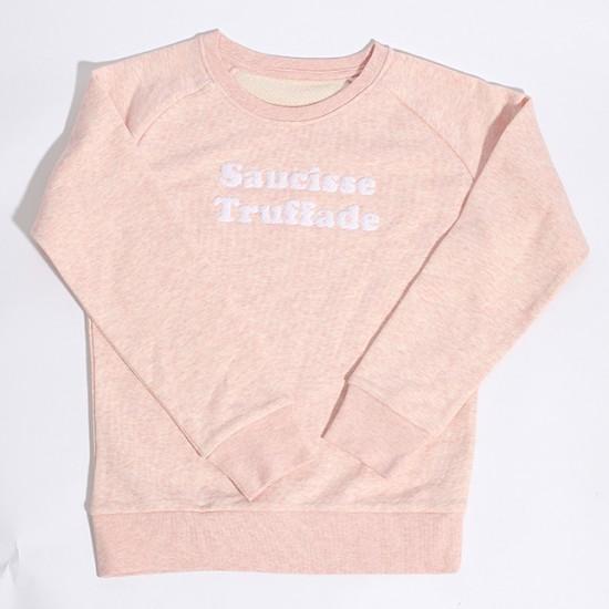 Saucisse Truffade - Sweat enfant rose avec broderie blanche