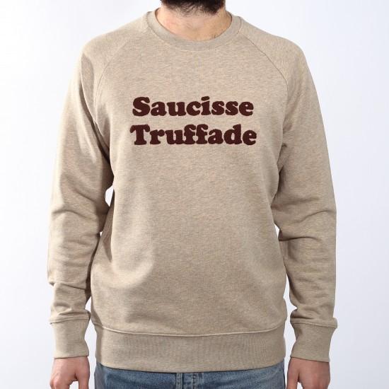 Saucisse Truffade - Sweat beige avec broderie marron