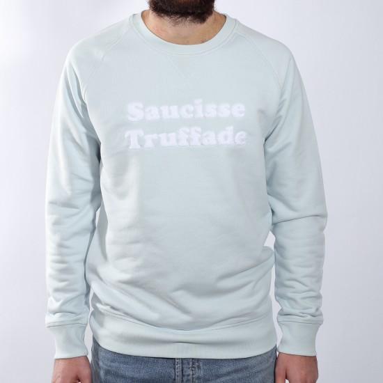 Saucisse Truffade - Sweat bleu ciel avec broderie blanche