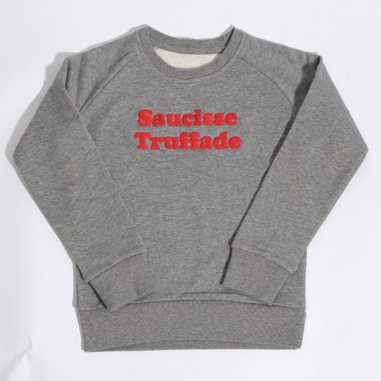Saucisse Truffade - Sweat enfant gris avec broderie rouge