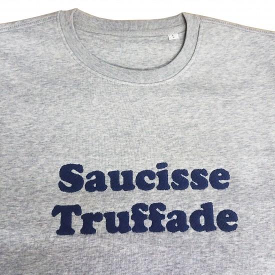 Saucisse Truffade - Sweat gris avec broderie bleu marine