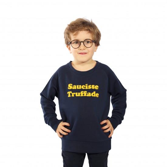 Saucisse Truffade - Sweat enfant marine avec broderie jaune
