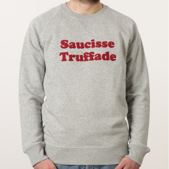 Saucisse Truffade - Sweat gris avec broderie