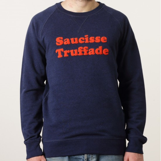 Saucisse Truffade - Sweat bleu avec broderie