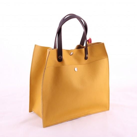 Bandit Manchot - Sac cabas carré en cuir jaune