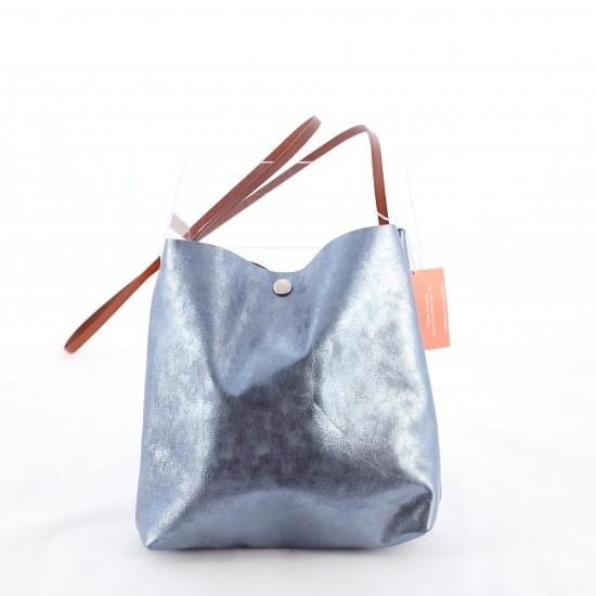 Bandit Manchot - Sac crossover en cuir bleu métallisé