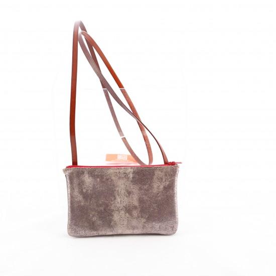 Bandit Manchot - Mini sac crossover en cuir gris à paillettes