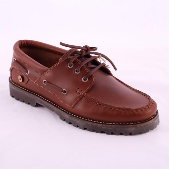 Faguo - Chaussures bateau en cuir marron