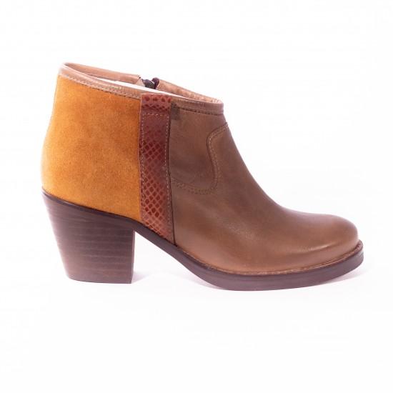 Loreak Mendian - Chaussures à talon bi-color en cuir et nubuck