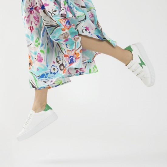 Vanessa Wu - Baskets blanches détails croco vert