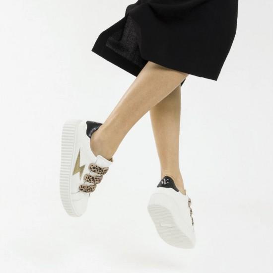 Vanessa Wu - Baskets blanches scratchs léopard